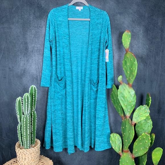 Lularoe Sweaters - 🆕Lularoe Sarah Turquoise Heathered Cardigan S🌵